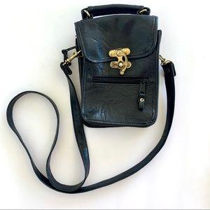 Vintage 90s Faux Leather Black Crossbody Bag